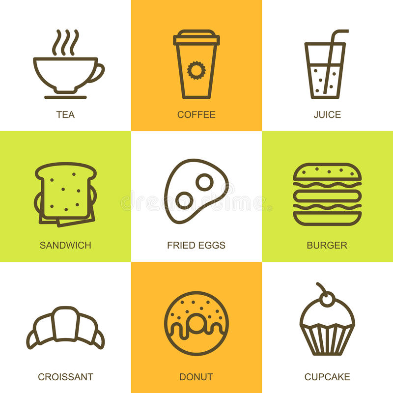 Cooking Concept Flat Icons Set Stock Vector: Set Of Vector Flat Food Illustration. Breakfast Multicolor