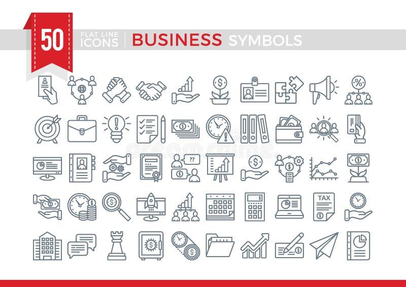 Set Vector Flat Line Business Symbols. royalty free stock photos