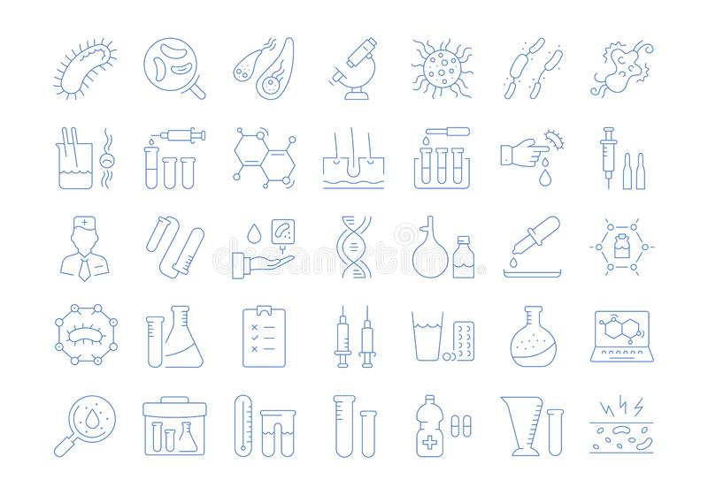 Set Vector Flat Line Icons Bacteria and Virus royalty free illustration