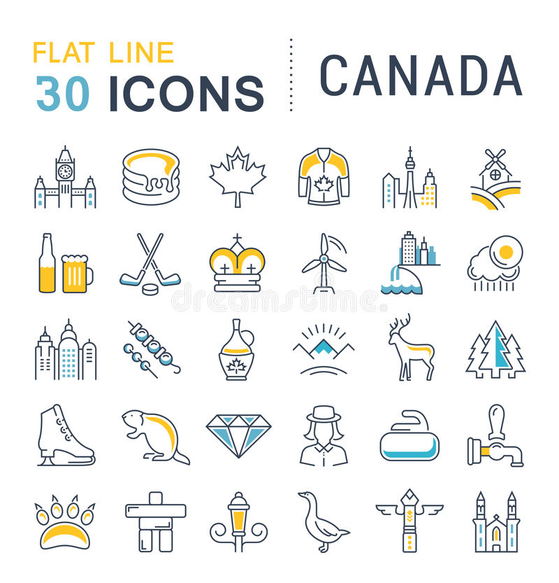 Set Vector Flat Line Icons Canada. Set line icons in flat design Canada, North America and architecture with elements for mobile concepts and web apps stock illustration