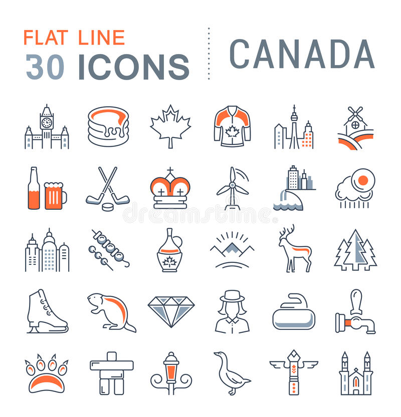 Set Vector Flat Line Icons Canada. Set line icons in flat design Canada, North America and architecture with elements for mobile concepts and web apps vector illustration