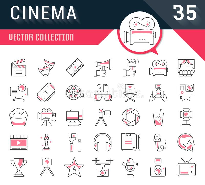 Set Vector Flat Line Icons Cinema and Movies royalty free illustration