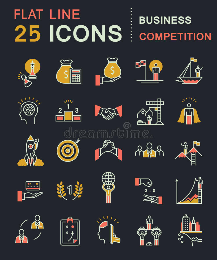 Set Vector Flat Line Icons vector illustration