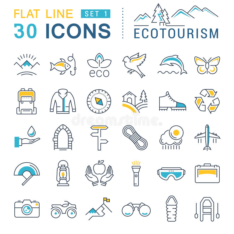 Set Vector Flat Line Icons Ecotourism stock illustration