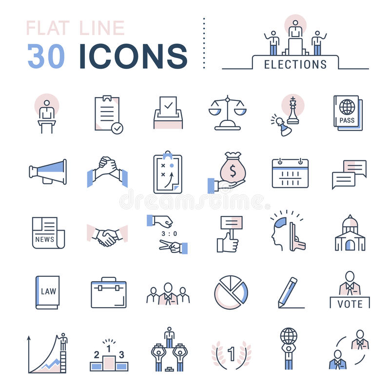 Set Vector Flat Line Icons Elections stock illustration