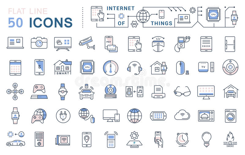 Set Vector Flat Line Icons Internet of Things vector illustration