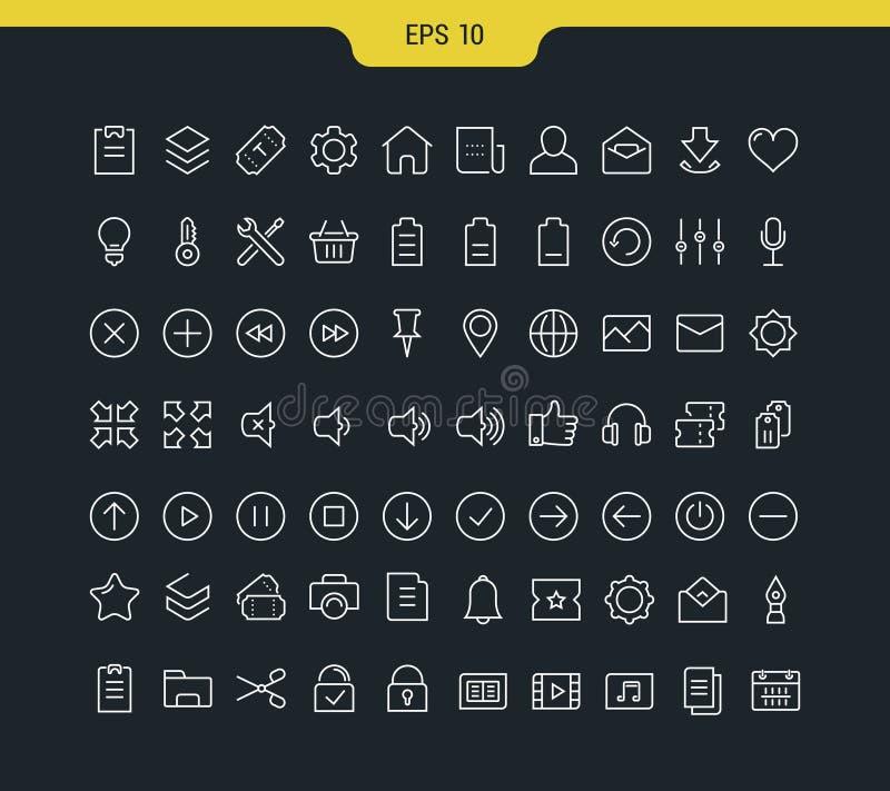 Set Vector Flat Line Icons Minimalistic stock illustration