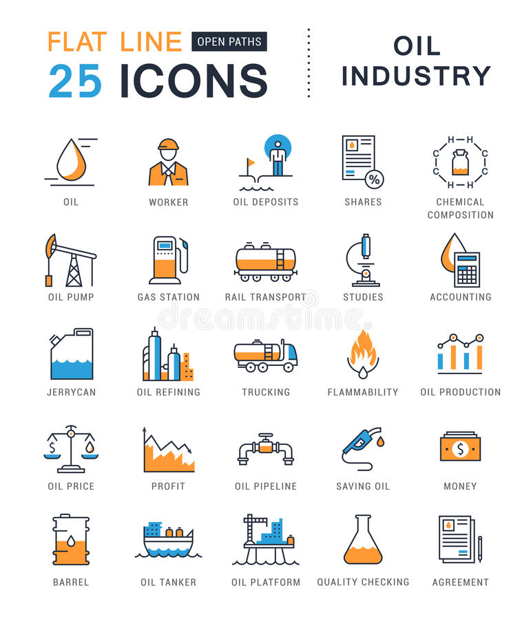 Set Vector Flat Line Icons Oil Industry. Set line icons with open path oil industry, power and energy production, mining minerals with elements for mobile stock illustration