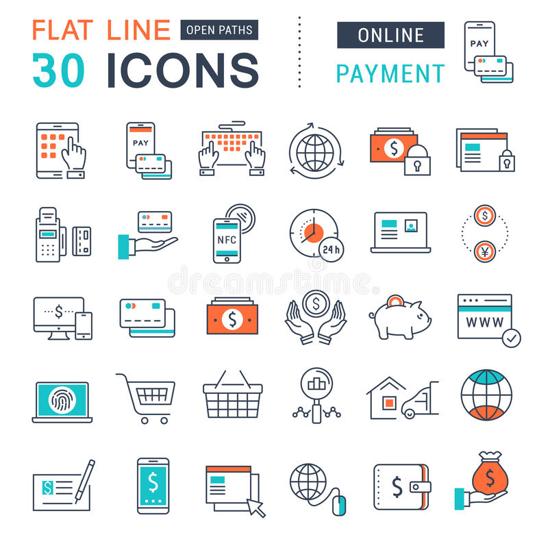 Download Set Vector Flat Line Icons Online Payment Stock Illustration -  Illustration of marketing, elements