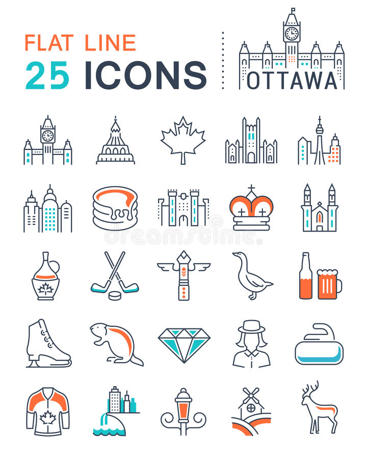 Set Vector Flat Line Icons Ottawa. Set line icons in flat design Ottawa, Canada and North America with elements for mobile concepts and web apps. Collection stock illustration