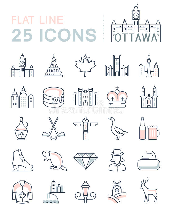 Set Vector Flat Line Icons Ottawa. Set line icons in flat design Ottawa, Canada and North America with elements for mobile concepts and web apps. Collection royalty free illustration
