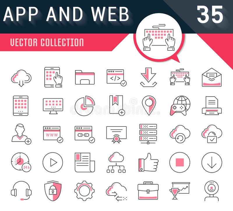 Set Vector Flat Line Icons SEO and Web Design vector illustration