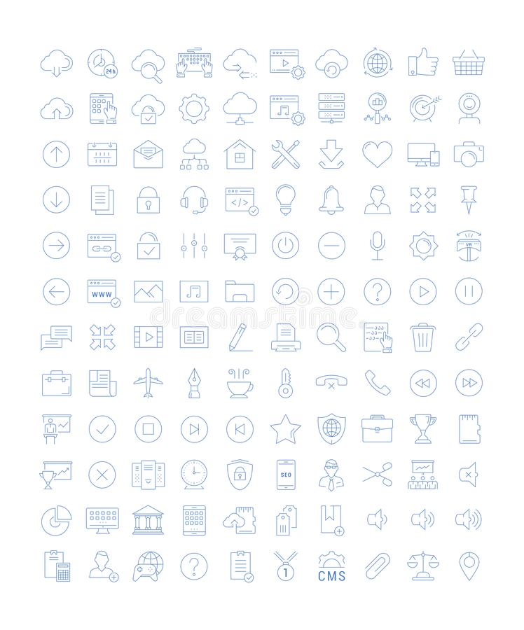 Set Vector Flat Line Icons SEO and Web Design stock illustration