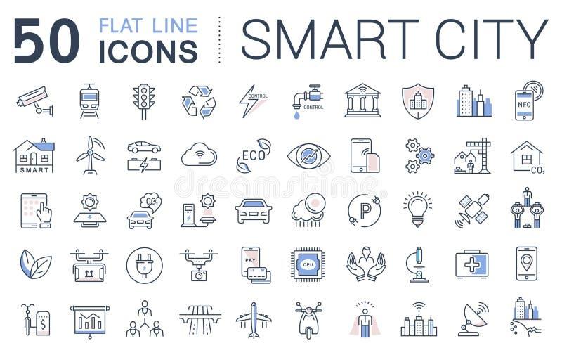 Set Vector Flat Line Icons Smart City vector illustration