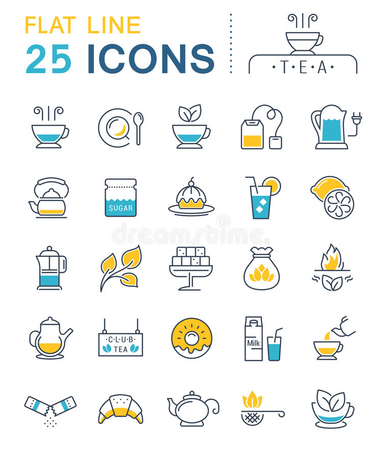 Set Vector Flat Line Icons Tea royalty free illustration