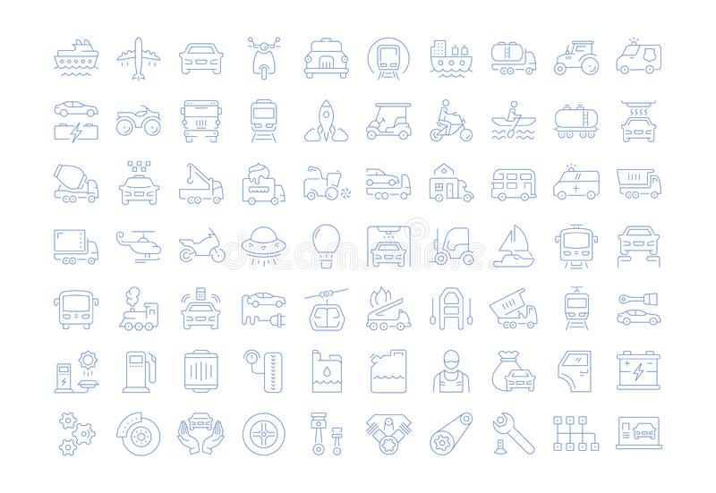 Set Vector Flat Line Icons Transport royalty free illustration