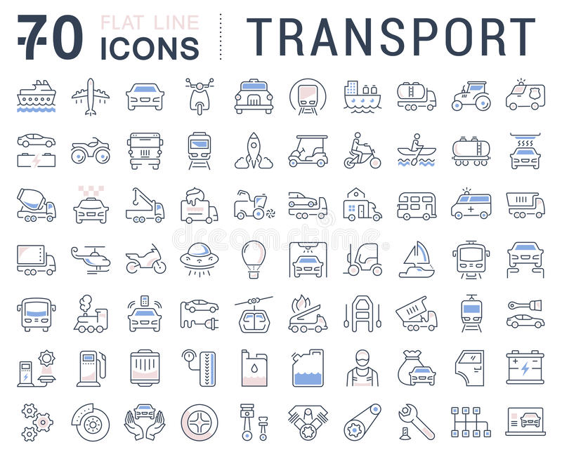 Set Vector Flat Line Icons Transport. Set line icons in flat design transport, mechanics, electronics with elements for mobile concepts and web apps. Collection vector illustration