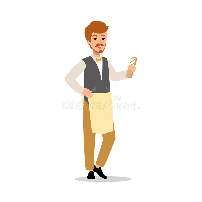 Set of vector flat style character barber guy in different static poses. Isolated on white background. stock illustration