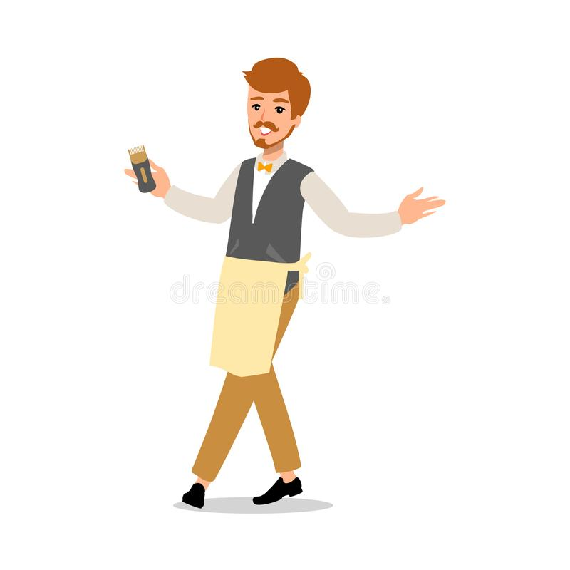 Set of vector flat style character barber guy in different static poses. Isolated on white background. royalty free illustration