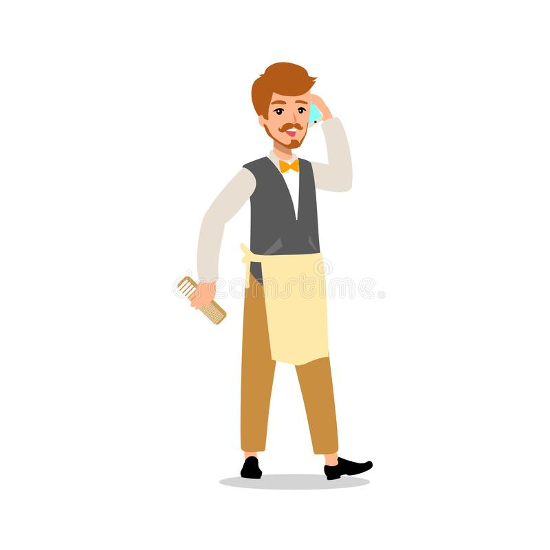 Set of vector flat style character barber guy in different static poses. Isolated on white background. vector illustration