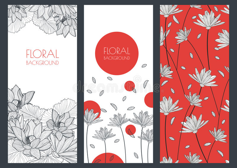 Set of vector floral banner backgrounds and seamless pattern. Li stock illustration