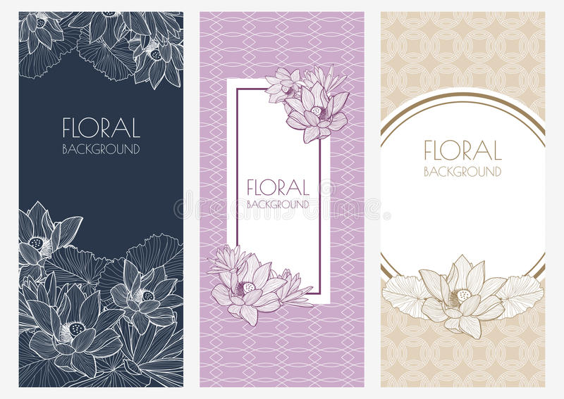 Set of vector floral banner backgrounds and seamless pattern. Vi vector illustration