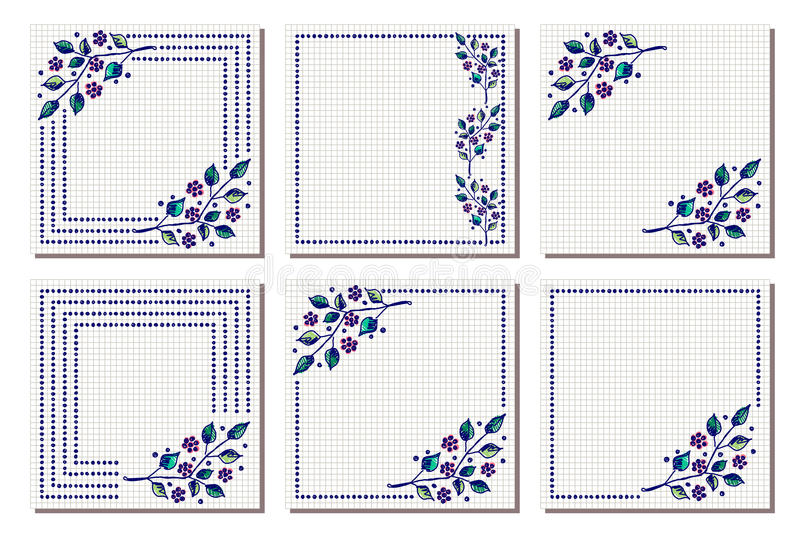 Set of vector floral frame, card, border. Greeting cards. Different template with colorful hand drawn flowers and leaves. Graphic stock illustration