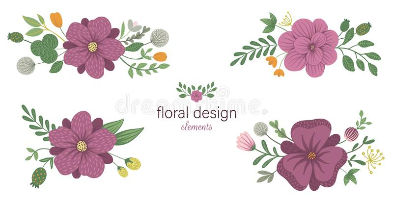 Set of vector floral horizontal decorative elements. royalty free illustration