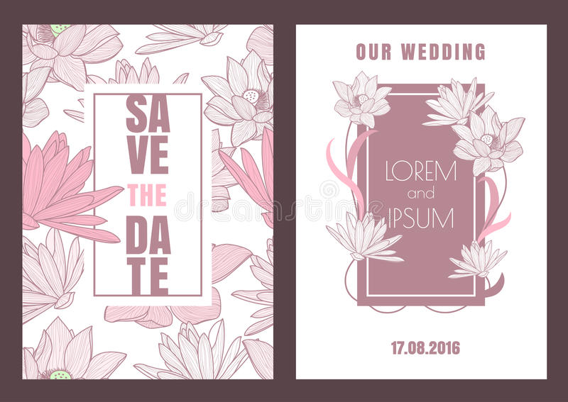 Set of vector floral save the date vintage greeting card. Hand d stock illustration