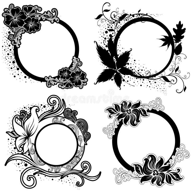Set of Vector Floral vintage black frames stock illustration