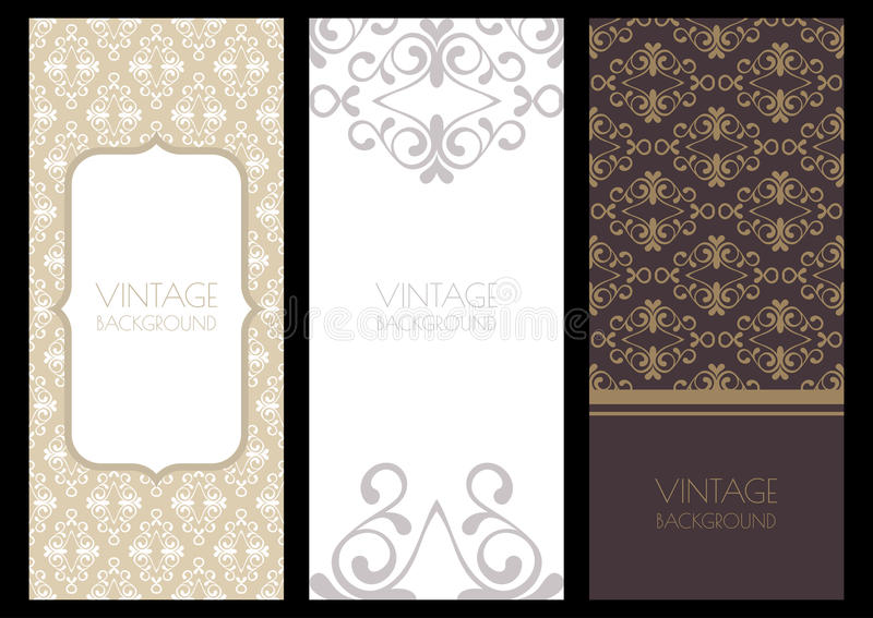 Set of vector flourish banner backgrounds and seamless pattern. stock illustration