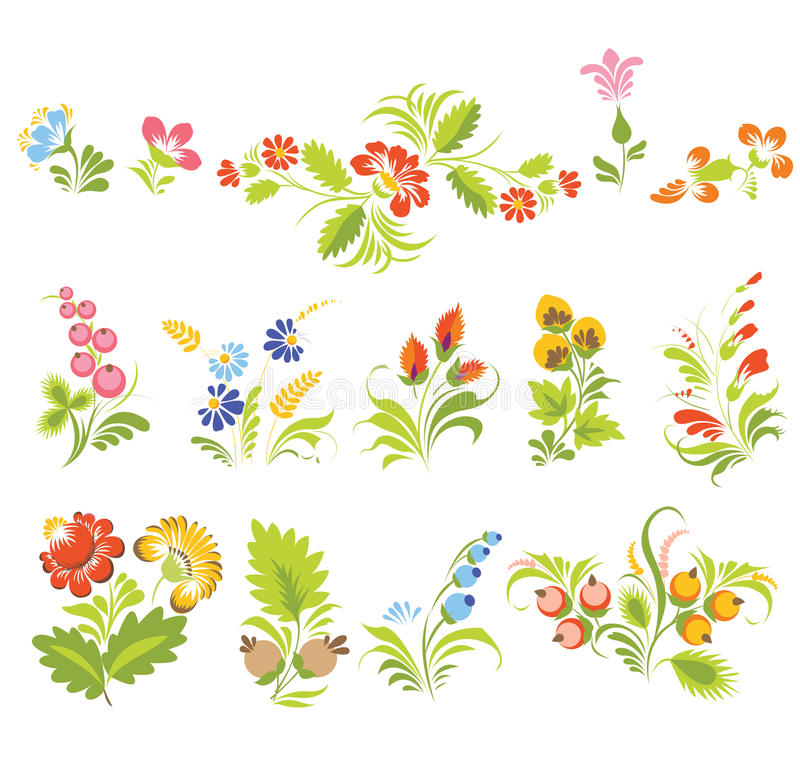 Set of vector flowers in Ukrainian folk style. (Ukrainian folk art). Bright and lovely colors. Elements for decoration and design royalty free illustration