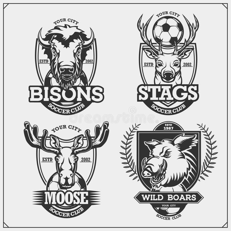 Set of vector football and soccer badges, labels and design elements. Sport club emblems with deer, bison, elk and wild boar. Prin stock illustration