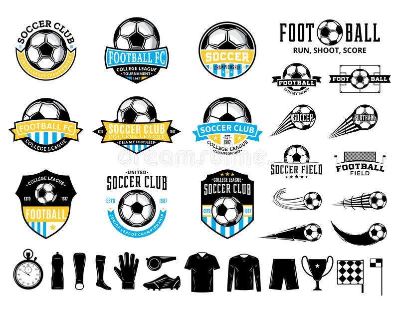 Set of vector football soccer club logo and icons. Set of vector football soccer club logo, labels and icons for sport teams, tournaments and organizations vector illustration