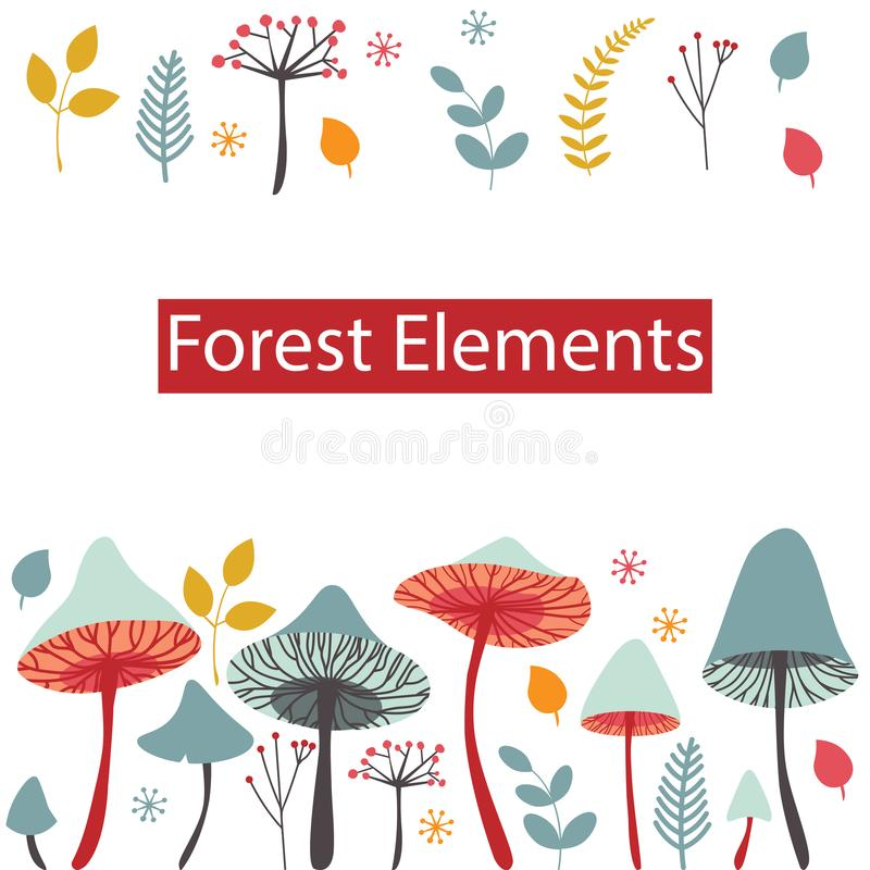 Set of vector forest elements. Mushrooms, berries, leaves and he stock illustration