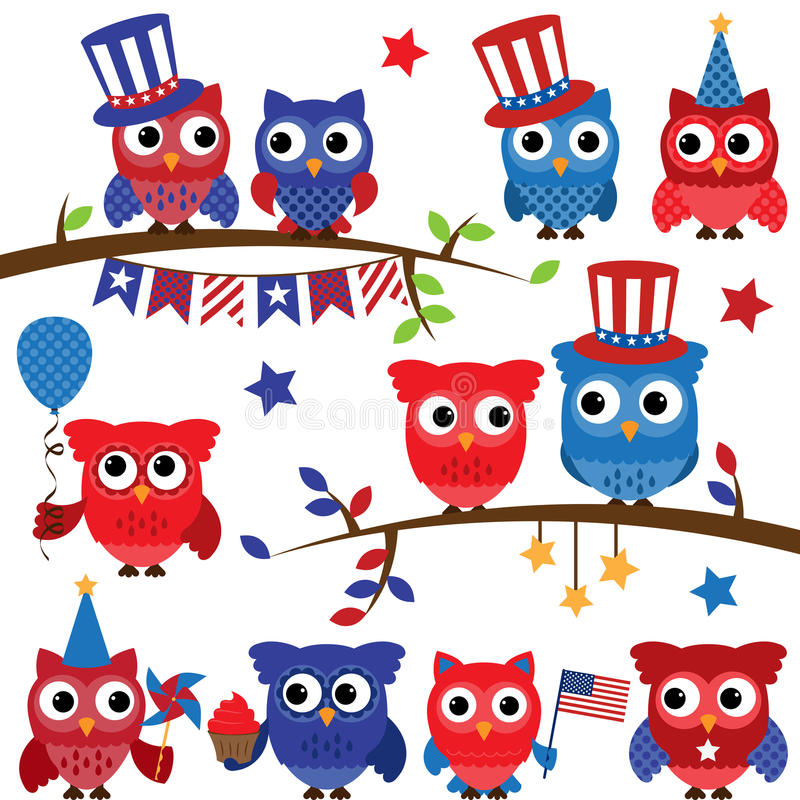 Set of Vector Fourth of July or Patriotic Owls. And Branches stock illustration