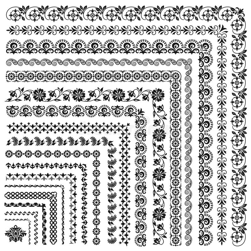 Set of vector frames and borders stock photos