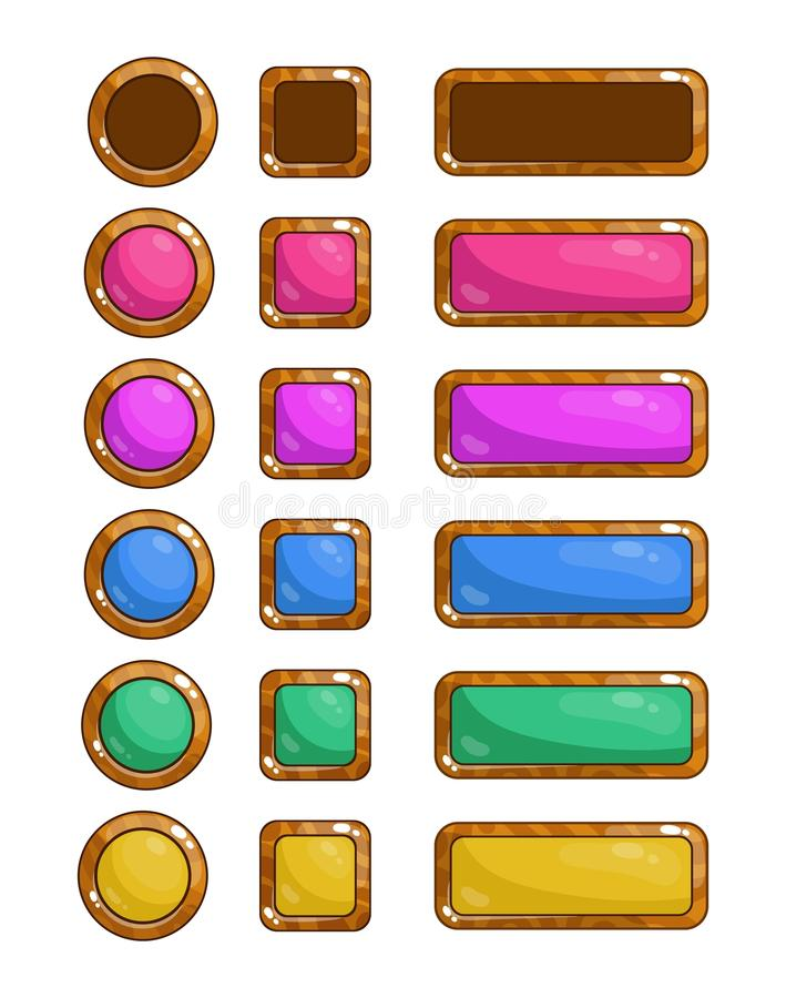 A set of vector game buttons for the design of games and applications. Colored wooden buttons. stock illustration