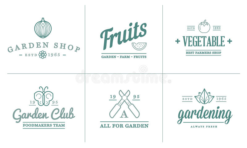 Set of Vector Garden and Farm Elements and Fruits or Vegetables Icons Illustration can be used as Logo stock illustration
