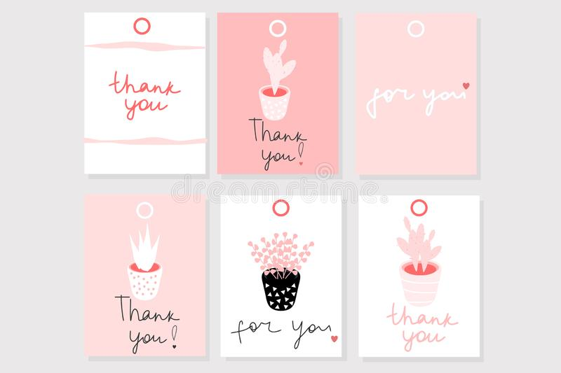 Set of 6 vector gift cards with words ``Thank you`` and ``For you`` in cute romantic girly style. Use for stickers, tags, cards, etc vector illustration