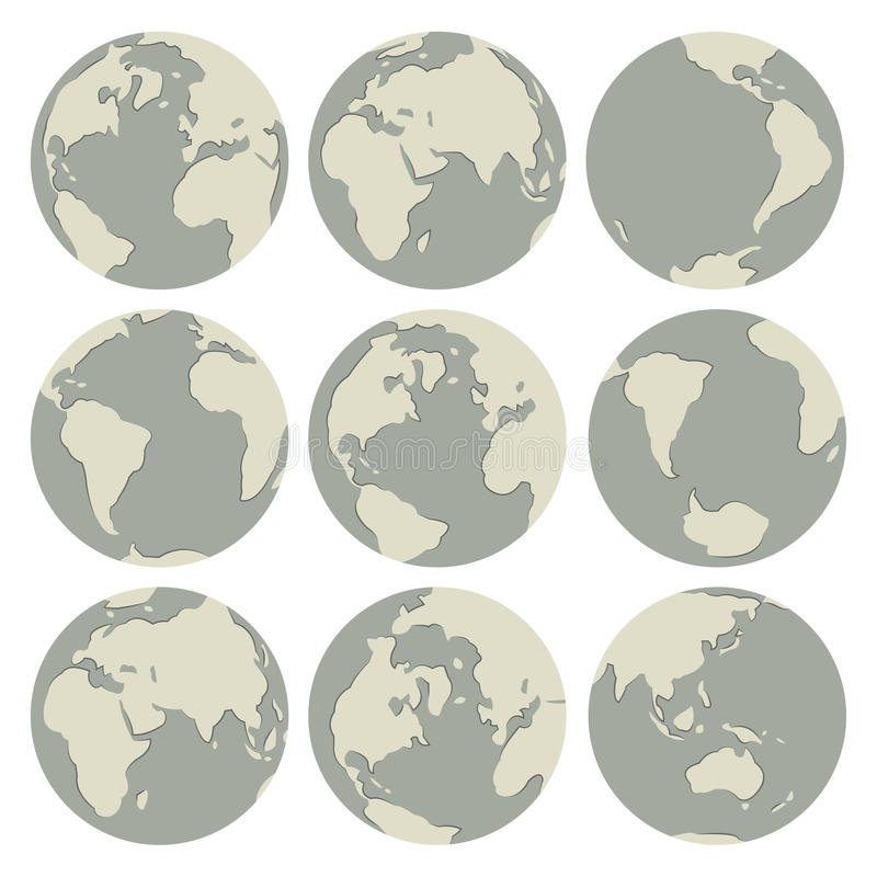 Set of vector globes. Earth with all continents stock illustration