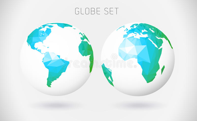Set of vector globes. Polygonal style vector illustration