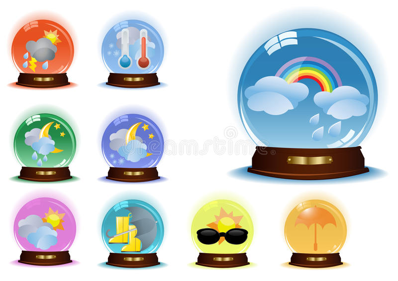Set-of-vector-globes-with-weather-phenomenons. Set of globes with weather phenomenons, vector illustration stock illustration
