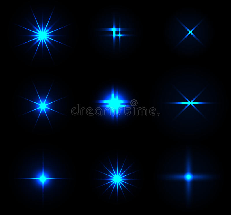 Set of Vector glowing sparkles. Set of Vector glowing stars and sparkles royalty free illustration