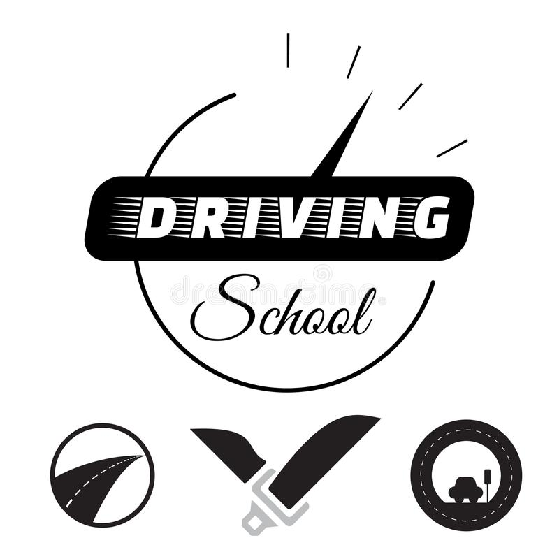 Set of vector graphic elements on the subject Driving school. Vector illustration. stock illustration