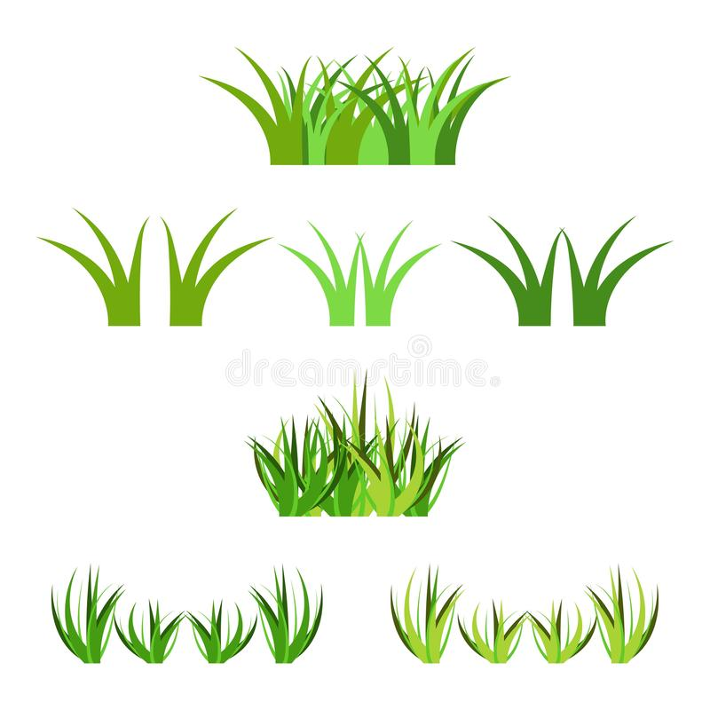 Set of vector green grass horisontal bunches isolated on white. Cartoon props decoration stock illustration