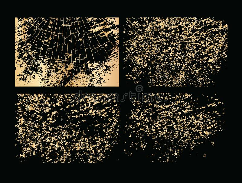 Set of vector grunge gold texture. Golden texture isolated on black background. royalty free illustration