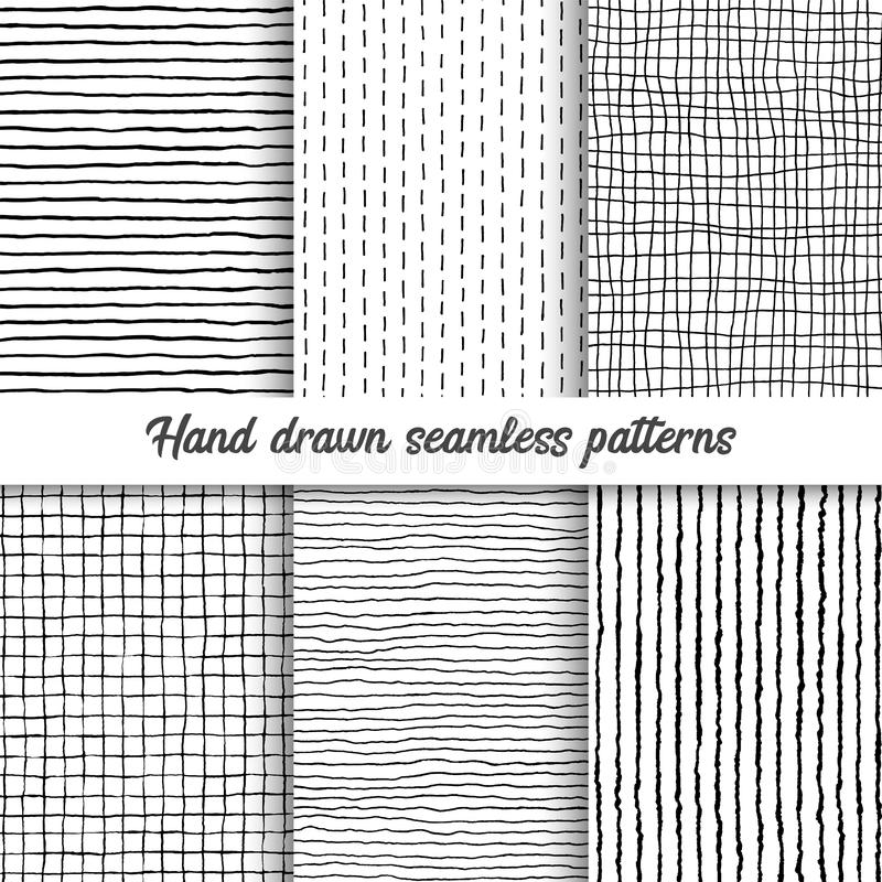 Set of vector hand drawn checkered seamless pattern, messy striped endless ornament. stock photography