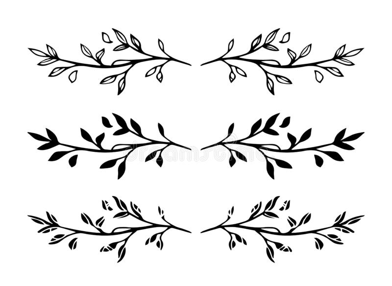 Set of vector hand drawn decorative black branch frame elements or dividers isolated on white background stock illustration