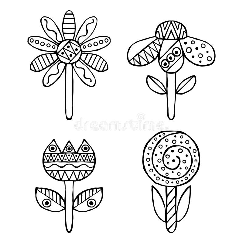 Set of vector hand drawn decorative stylized childish flowers. Doodle style, graphic illustration. Ornamental cute hand drawing in stock illustration